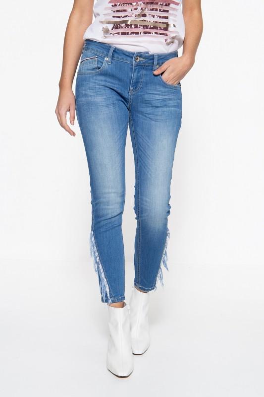ATT JEANS Slim Fit Jeans mit Fransenaufsatz am Unterschenkel Leoni