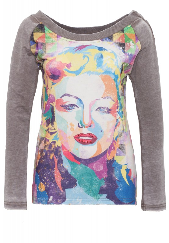 Sweatshirt mit Frontprint Marilyn Style 7 17-4919 - steel grey