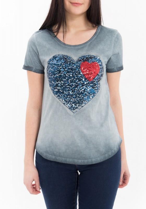 WAY OF GLORY T-Shirt mit Pailletten Applikation, oil wash