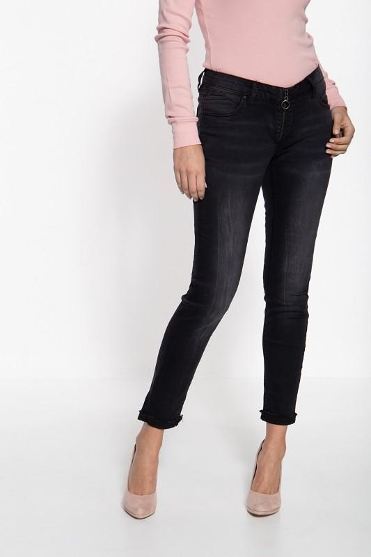 BLUE MONKEY Skinny Fit Jeans mit markantem Zipper Nicole