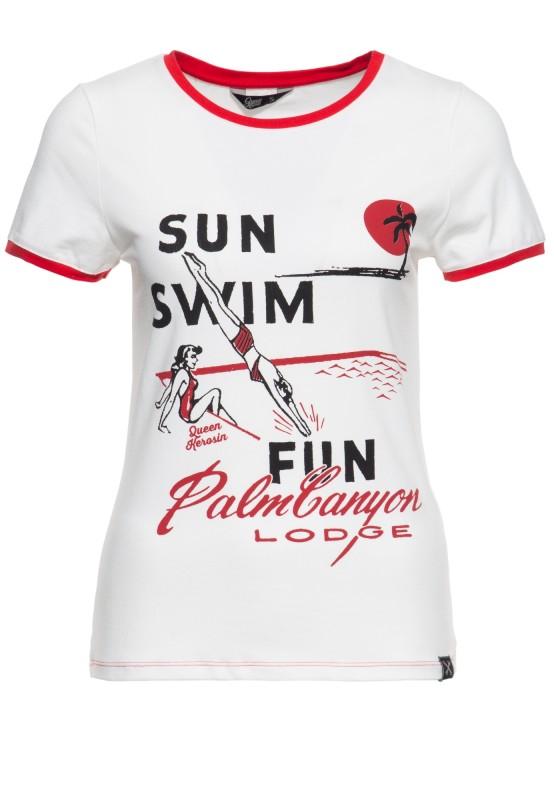 Slim Fit T-Shirt mit Frontprint und kontrastierenden Bündchen