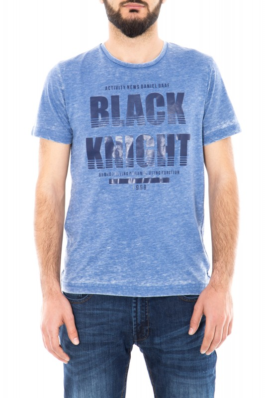 Daniel Daaf Shirt meliert mit Frontprint - blau (blue)
