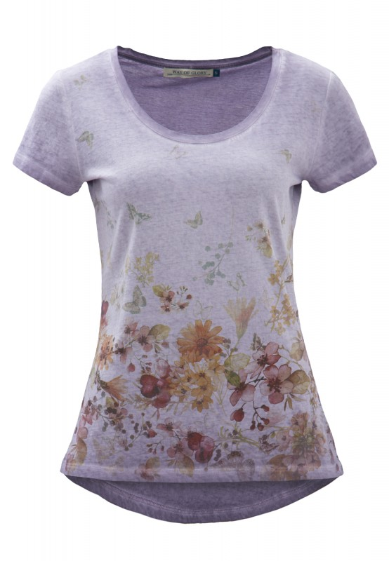 Way of Glory Shirt mit Flower- Butterfly Print - lila