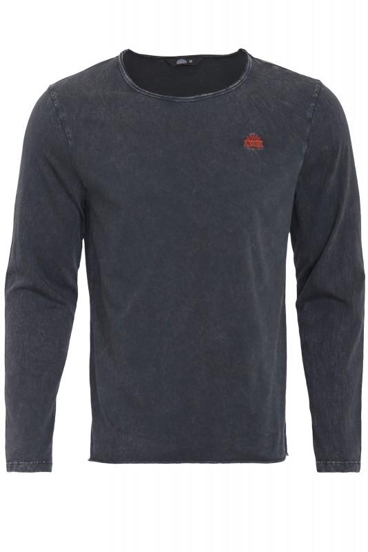 Basic Langarmshirt im Used-Look - schwarz - Regular Fit