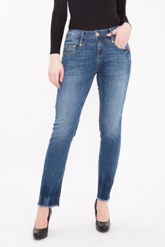 ATT JEANS - 5 Pocket Jeans Stretch Denim im Straight Cut mit Fransensaum « Stella » Stella