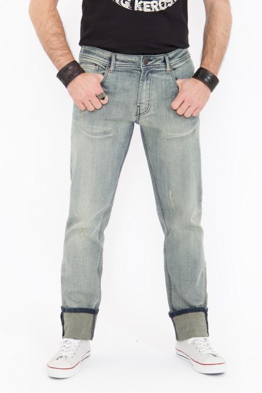 KING KEROSIN Slim Fit Jeans mit Brushing Wash