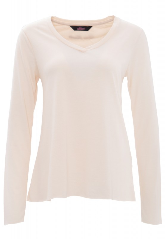 QUEEN KEROSIN Basic Longsleeve aus Viskose-Mix - nude