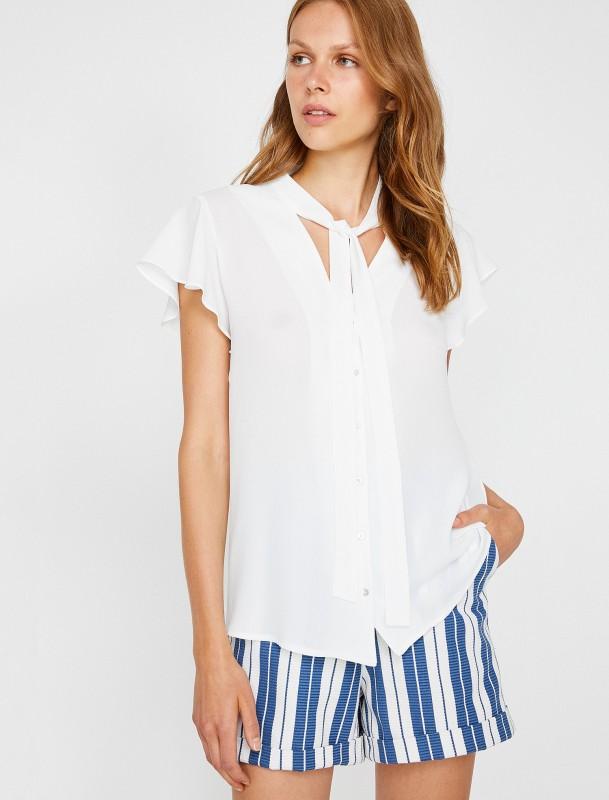 KOTON Hemdbluse mit Bindeschleife