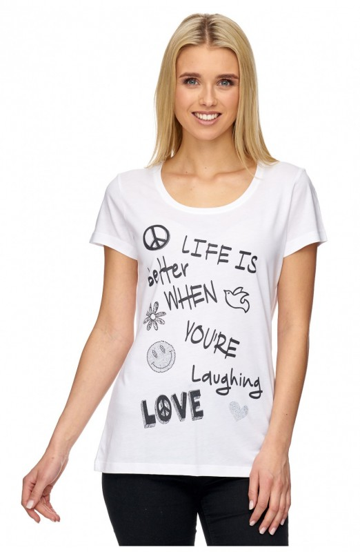 DECAY T-Shirt mit Glitzer Front Druck