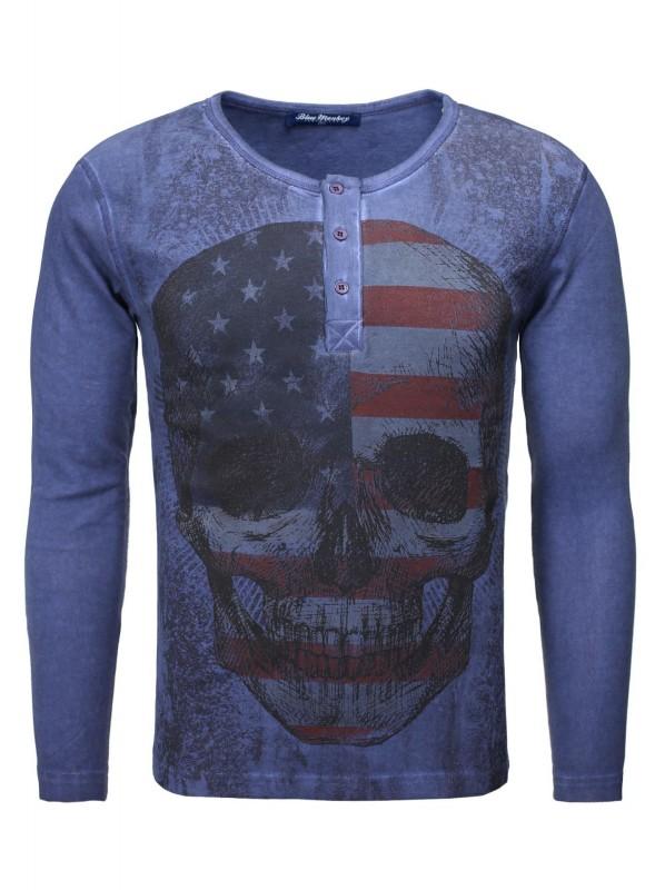 Langarmshirt mit Frontprint Skull Style 1 16-1133 - dunkelblau (navy)