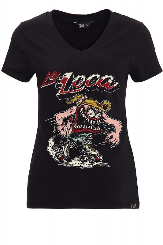 QUEEN KEROSIN T-Shirt mit detailreichem Frontprint La Loca