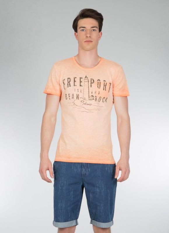 COLINS T-Shirt mit Frontdruck in Vintage Waschung