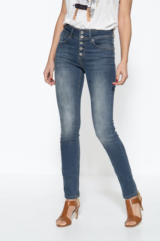 ATT JEANS Damen 5-Pockt Jeans mit Knopfleiste und Waschungen Chloe