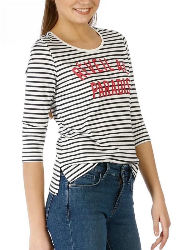COLINS Gestreiftes Shirt mit Front Slogan
