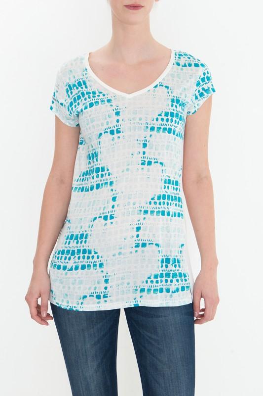 MEXX Print Shirt im Materialmix mit V-Ausschnitt