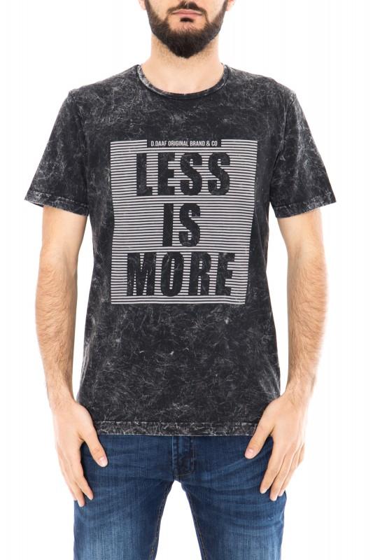 Daniel Daaf Shirt mit Vintage Waschung und 3D Print - black