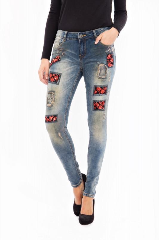 BLUE MONKEY Skinny Jeans mit Pailletten Patches und Druck Honey 8090