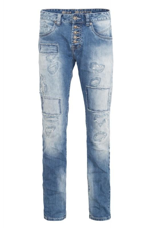 BLUE MONKEY 5-Pocket-Jeans »Alex 2046« in Destroy Optik Alex 2046
