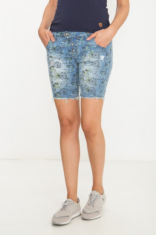 BLUE MONKEY Denim Shorts mit Allover Blumendruck im Used Look Manie 8038