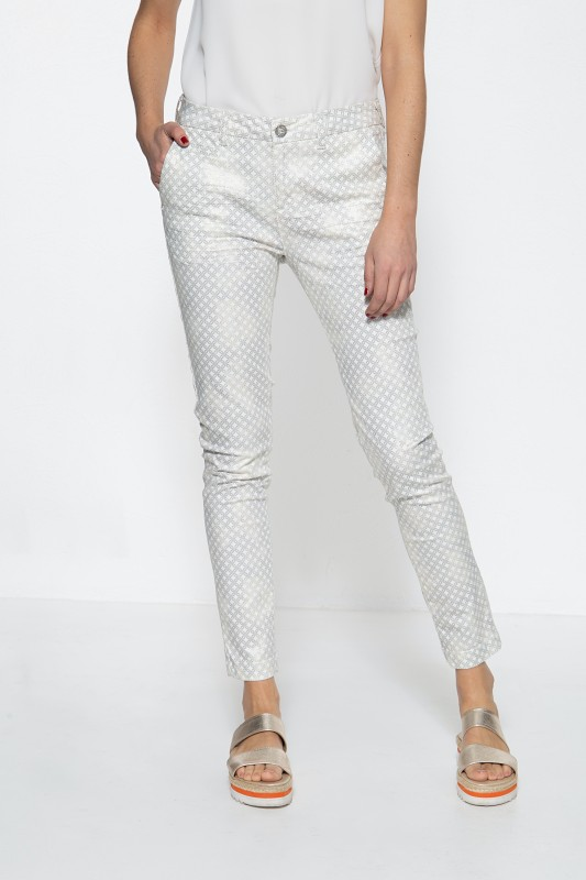 ATT JEANS Damen Hose mit femininem Muster und Glitzer-Effekt Ruby