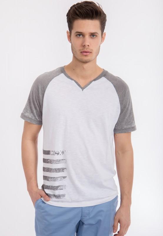 MEXX T-Shirt mit Serafino Ausschnitt in Slub Optik