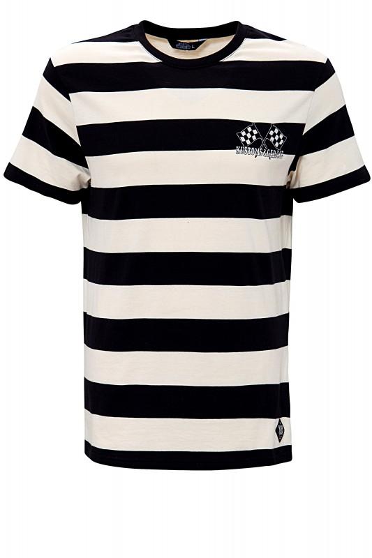 KING KEROSIN Shirt in Streifen-Optik mit dezenter Stickerei an der Brust und Back-Print Kustoms & Ga