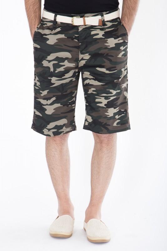 DANIEL DAAF Chino-Shorts mit Tarnmuster - army
