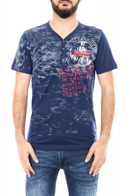 DANIEL DAAF T-Shirt mit V-Ausschnitt und Frontprint
