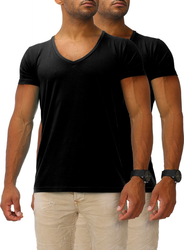 Herren Basic T-Shirts V-Neck HIGH 2er Set