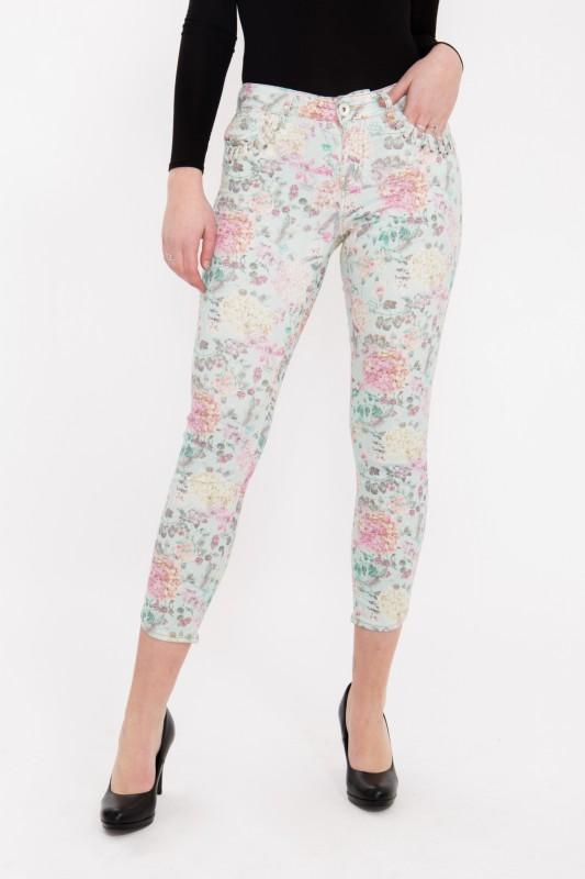 ATT JEANS - 7/8 Hose  mit floralem Druck und verzierten Eingriffstaschen, Slim Fit « Leoni » Leoni