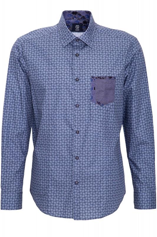 GABANO Langarmhemd mit feinem Kachelmuster und Brusttasche