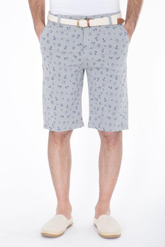 DANIEL DAAF Chino-Shorts mit Print inkl. Flechtgürtel - hellgrau