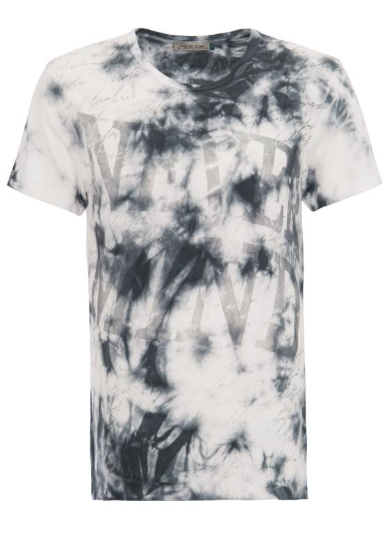 WAY OF GLORY T-Shirt mit Slogan Druck und Batik Waschung
