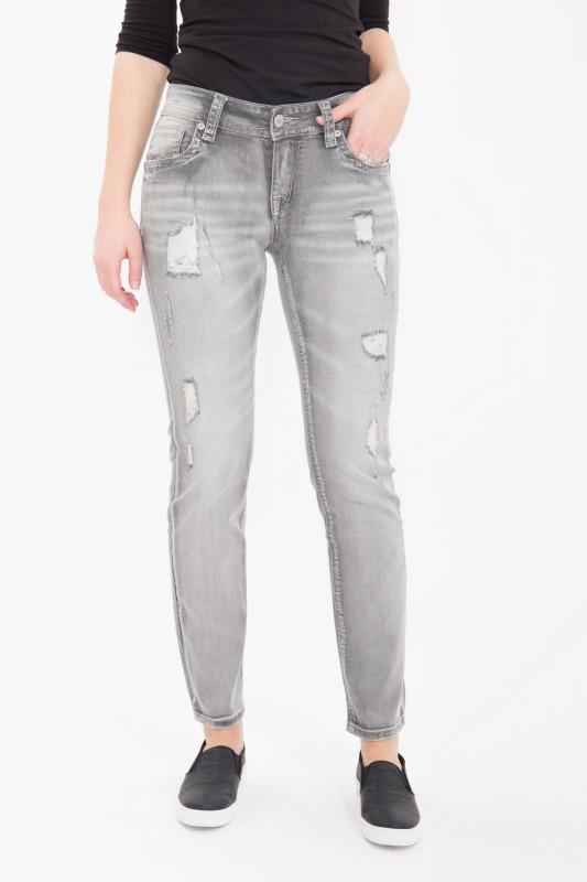 BLUE MONKEY Slim Fit Jeans mit geschmückten Gesäßtaschen