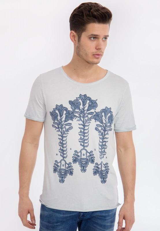 MEXX T-Shirt mit Vintage Waschung und Front Druck