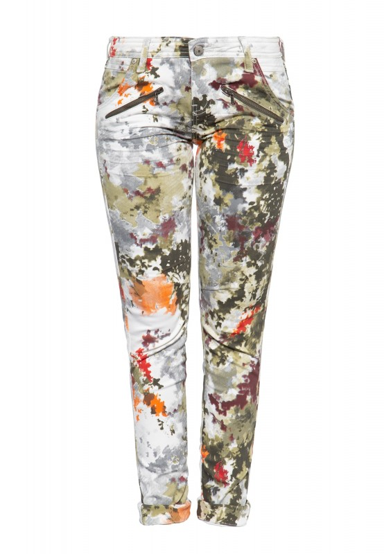 Damen Slim Fit Jeans mit abstraktem Muster und Zier-Reißverschlüssen »Lola«