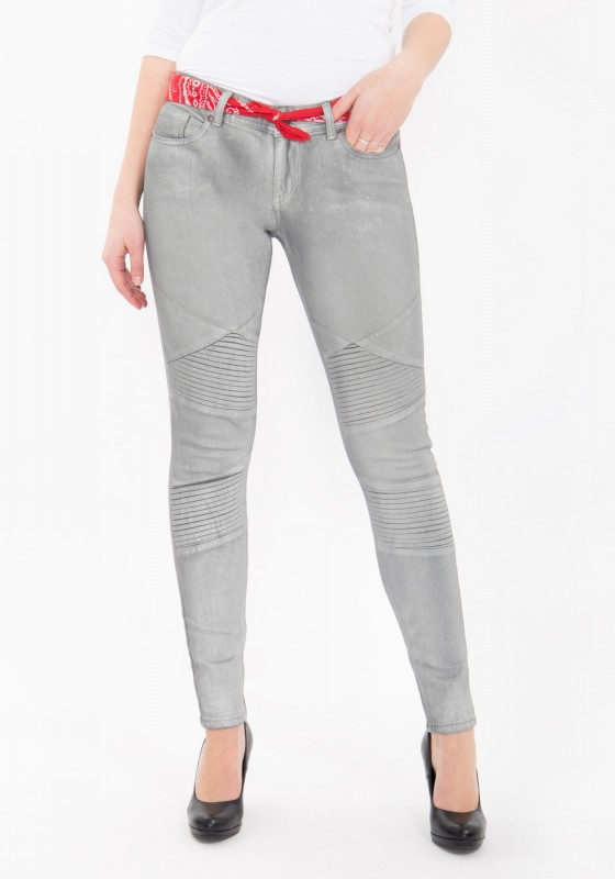 QUEEN KEROSIN Skinny Jeans mit Glanzdruck Holly Fit