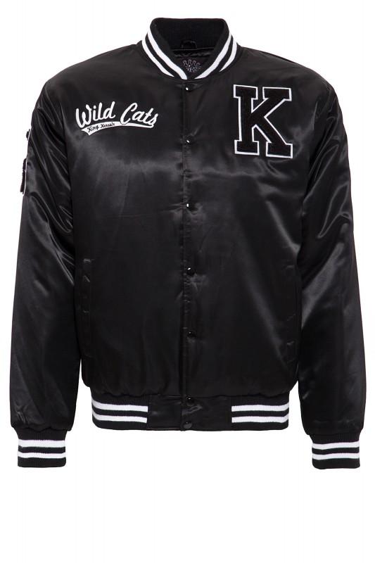 KING KEROSIN Satin College Jacke mit Front-und Rücken Stickerei Wild Cats