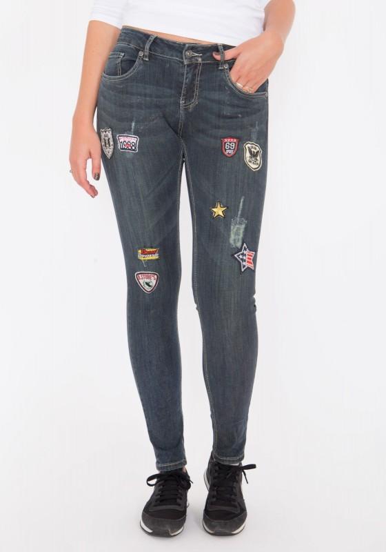 BLUE MONKEY Skinny Jeans mit bunten Patches Honey 1619