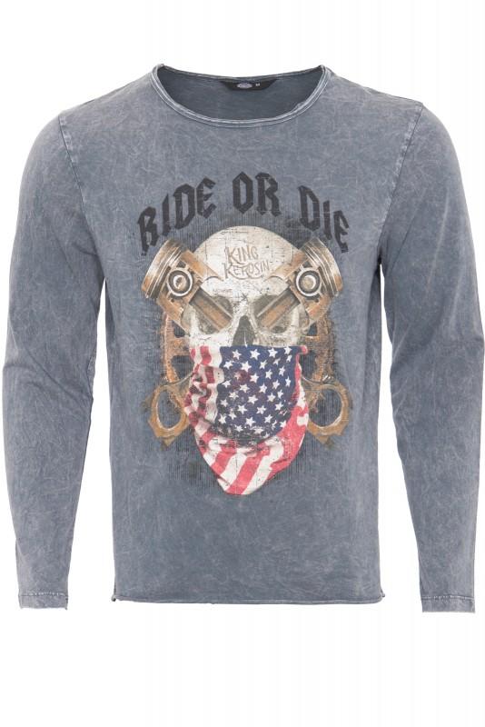 Langarmshirt im Used-Look mit Print ride or die - grau - Regular Fit