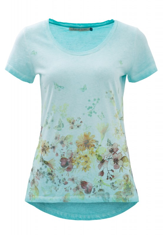 Way of Glory Shirt mit Flower- Butterfly Print - Mint (mint)