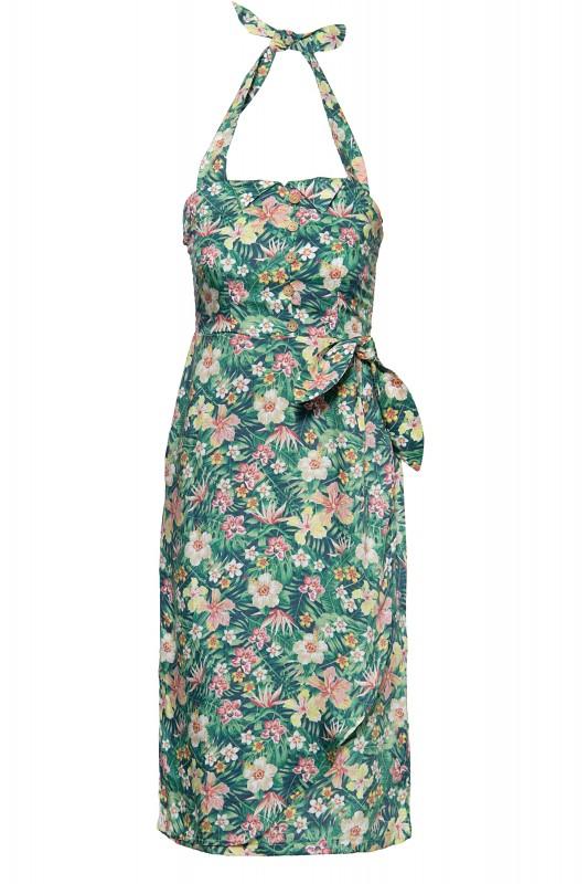 QUEEN KEROSIN Sommerkleid mit tropischem Muster