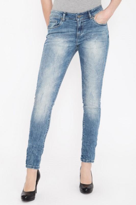 BLUE MONKEY Skinny Fit Jeans mit Strass-Steinen besetzt, Used Look »Honey 1722« Honey 1722