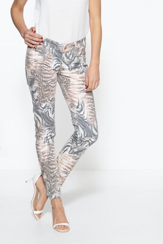 ATT JEANS Damen 5-Pocket Jeans mit Animalprint Lindsey