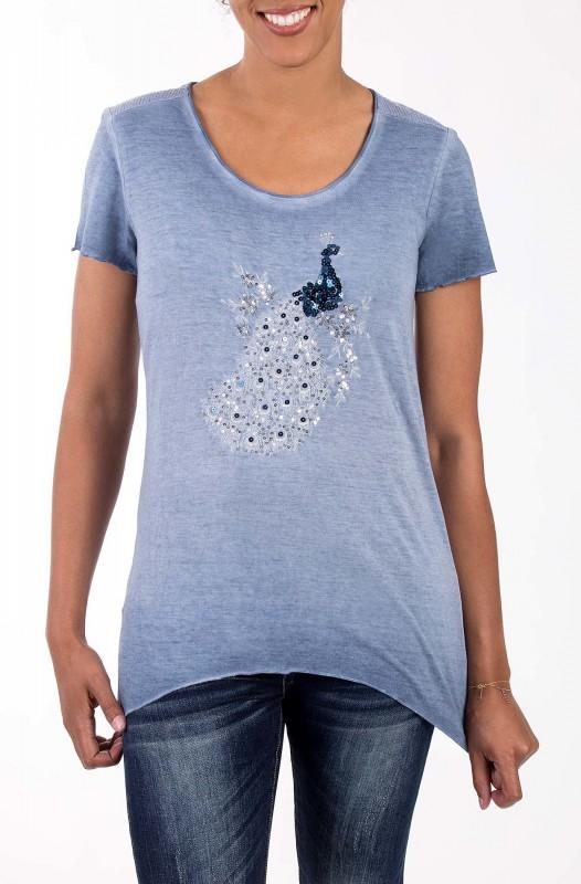 BLUE MONKEY T-Shirt mit Pailletten Applikation Pfau