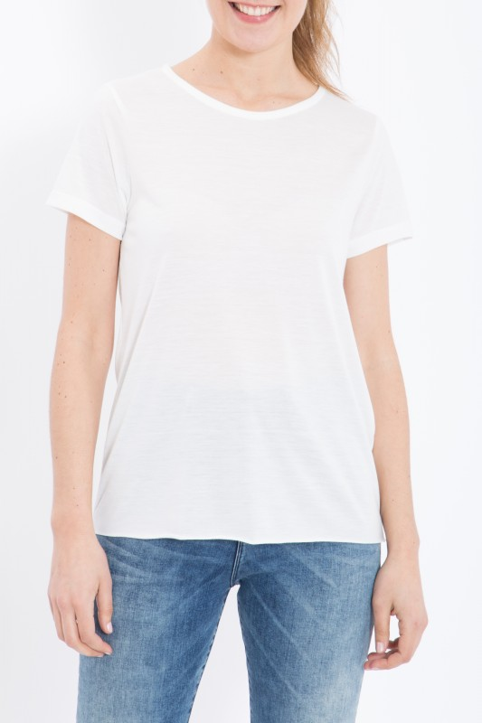 QUEEN KEROSIN Basic T-Shirt aus Viskose-Mix - offwhite