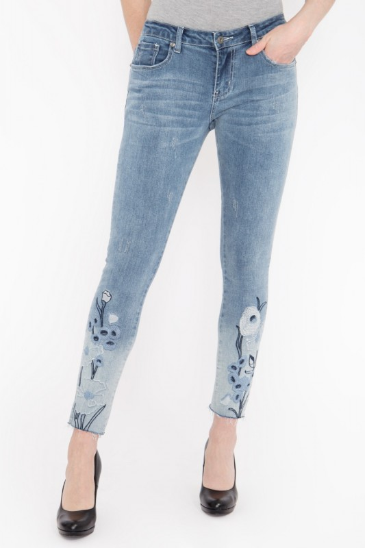 BLUE MONKEY Slim Fit Jeans mit aufwändiger Stickerei am Saum » Honey 7114 « Honey 7114